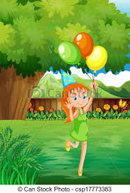 Backyard Clip Art Vector Of A Young At The Backyard With Three Balloons