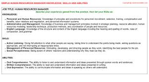 human resources manager knowledge u0026 skills