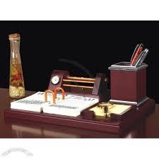 Office Desk Pen Holder by Wooden Table Gift Set With Clock Pen Holder Name Card Holder