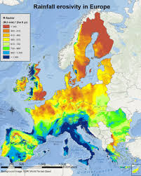 Northern Europe Map The Erosive Force Of Rainfall Is The Harshest In Southern Europe