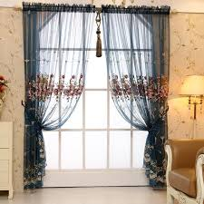 Window Sheer Curtains Blue Floral Luxury Beautiful Yarn Custom Window Sheer Curtains