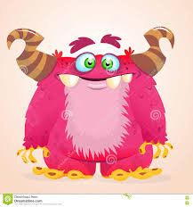 happy cartoon monster halloween vector horned monster smiling