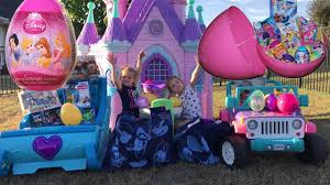 frozen power wheels sleigh disney princess sleigh ride on castle egg hunt shimmer and shine