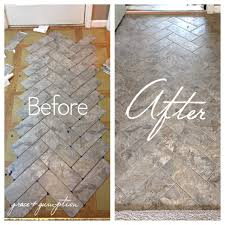 Kitchen Floor Coverings Ideas by Diy Herringbone Peel N Stick Tile Floor Before And After By Grace
