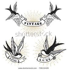 set swallow tattoo templates isolated on stock vector 672366379
