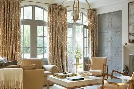 Curtains For Cupboard Doors Wall Of Gray Living Room Doors Dressed In Gold Lattice Curtains