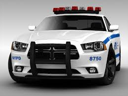 Dodge Challenger Police Car - 3d side view sketch police car illustration of generic blue