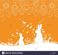 easter greeting card with rabbit ornamental eggs background stock