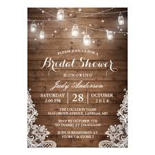wedding shower invitation jars lights rustic wood lace bridal shower card zazzle