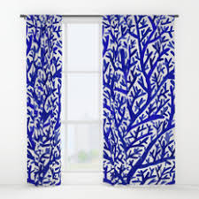 Coral And Navy Curtains Coralreef Window Curtains Society6