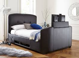 Faux Bed Frame Luther Black Faux Leather Tv Bed Frame Dreams