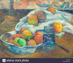 bowl of fruits bowl of fruits and tankard before a window paul gauguin stock