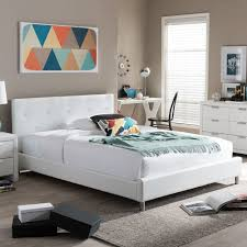 white platform bed frame full faux leather upholstered headboard