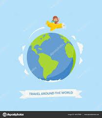 cartoon boy riding plane around the world air travel cute pilot