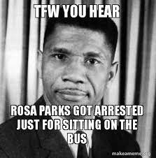 Rosa Parks Meme - tfw you hear rosa parks got arrested just for sitting on the bus