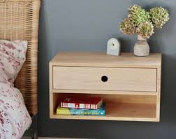 Floating Nightstand With Drawer Floating Nightstand Modern Bedside Table In White Oak