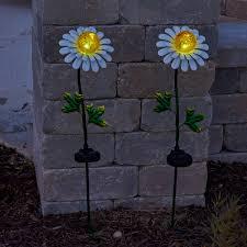 metal flower garden stakes metal daisy solar stake light crackle glass led smart solar