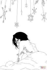 rukia kuchiki from bleach 567 cover coloring page free printable
