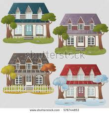 set four vector houses houses different stock vector 576744853