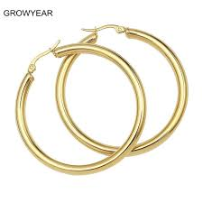 hoop earing classic simple gold color 4mm thick hoop earring stainless