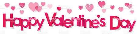valentines banner valentines day banner pink letters with hearts on white background