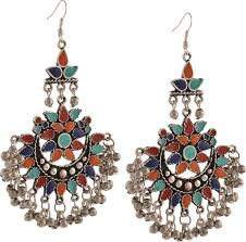 chandbali earrings flipkart buy zephyrr fashion oxidized silver afghani tribal