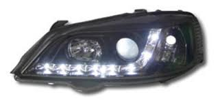 Toner Opel vauxhall opel astra g 98 04 r8 style drl black headlights lighting