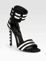 lyst saint laurent paloma metallic leather suede ankle strap