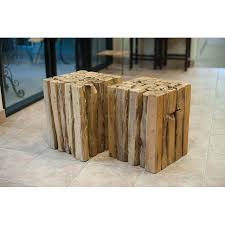 Wood Block Side Table Wood Branch Cube Side Table Chairish