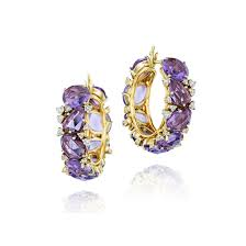 gold diamond hoop earrings flont new lulu 18k gold diamond amethyst hoop earrings by