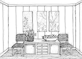 sketch room home design decorative drawing dining room stock vector outline