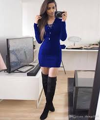 2017 women fashion dress autumn and winter new long sleeved v pack