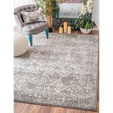 nuloom vintage floral ornament silver area rug 8 u0027 x 10 u0027 silver