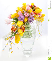 colorful bouquet of spring flowers in vase royalty free stock