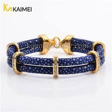 luxury leather bracelet images Dubai fashion jewelry luxury mens royal blue leather gold plated jpg