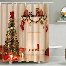 wholesale xmas tree fabric waterproof bath christmas shower
