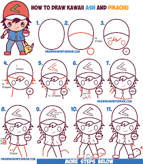 how to draw thanksgiving how to draw cute kawaii chibi ash ketchum and pikachu from pokemon