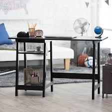 Small Computer Desk With Shelves Manhattan Open Computer Desk With Adjustable Shelf Black Hayneedle