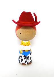 wooden peg doll kokeshi toy story inspired cowgirl crafts