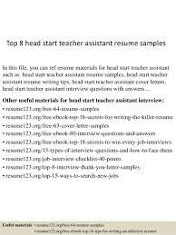 Resume Examples For Teacher Assistant Head Start Teacher Assistant Cover Letter