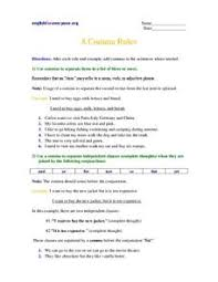 8 comma rules 5th 6th grade worksheet lesson planet