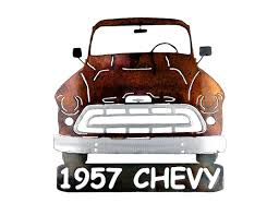 Classic Chevy Custom Trucks - smw267 metal 1957 chevy truck wall art sunriver metal works