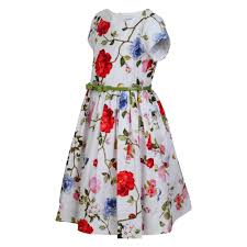monnalisa girls white flower bird and butterfly print tea dress