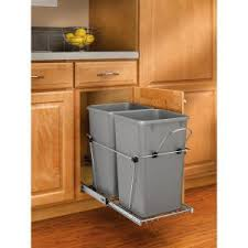 trash can attached to cabinet door rev a shelf 19 25 in h x 11 81 in w x 22 25 in d double 27 qt