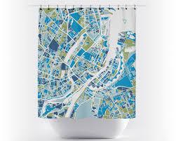 Copenhagen Map Copenhagen Map Shower Curtain Denmark Shower Curtain Chroma
