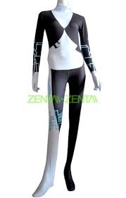 imp midna costume 3 white and black spandex lycra zentai suit
