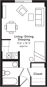 600 sq foot studio apartment layout make the kitchen a