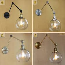 retro two swing arm wall lamp glass shade wall sconces wall mount