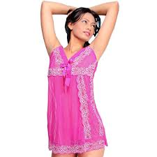 buy fancy pink ladies short night gown with panty 307 online