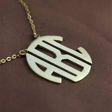Monogram Jewlery 18k Gold Plated Block Monogram Pendant Necklace